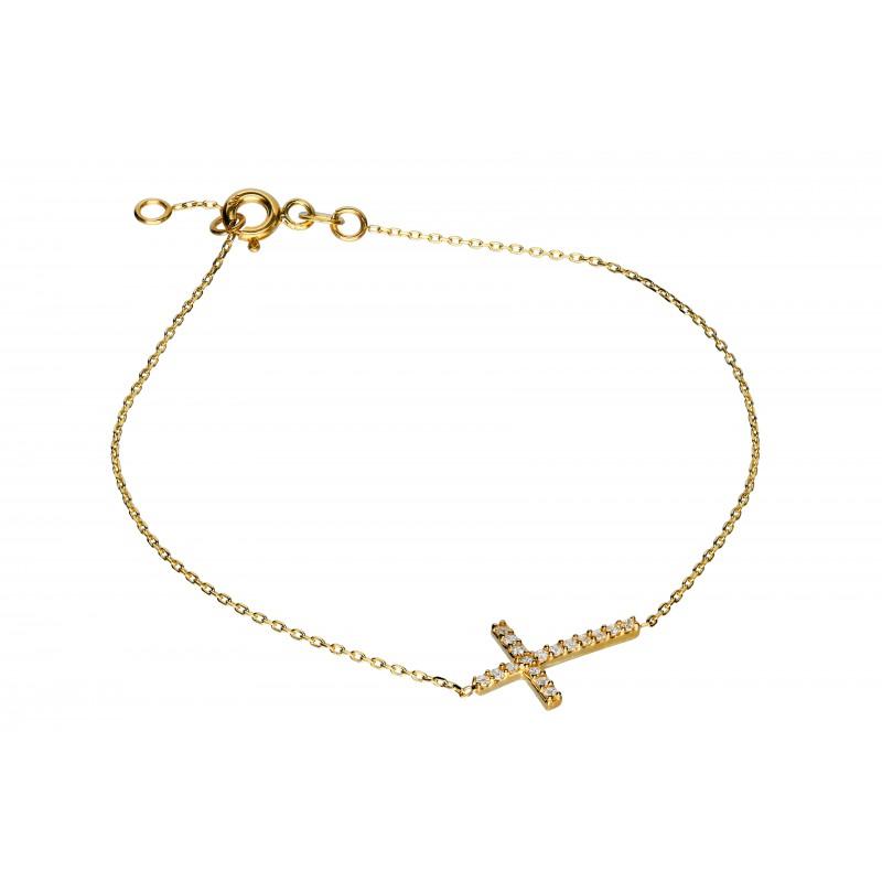 51684affbc4ae4 Złota bransoletka - krzyżyk Indeks:B259KK   Biżuteria Eliza