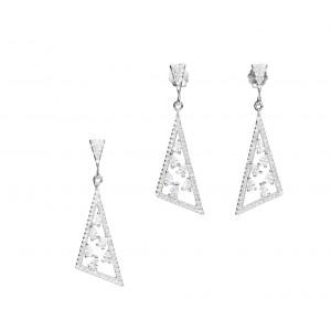 Srebrny komplet - trójkąty