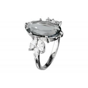 Srebrny pierścionek z szarą...