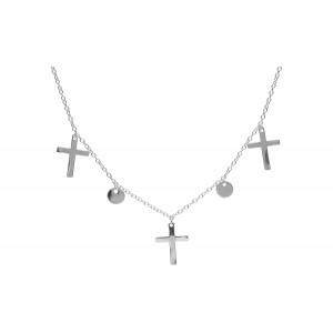 Srebrny naszyjnik z krzyżykami
