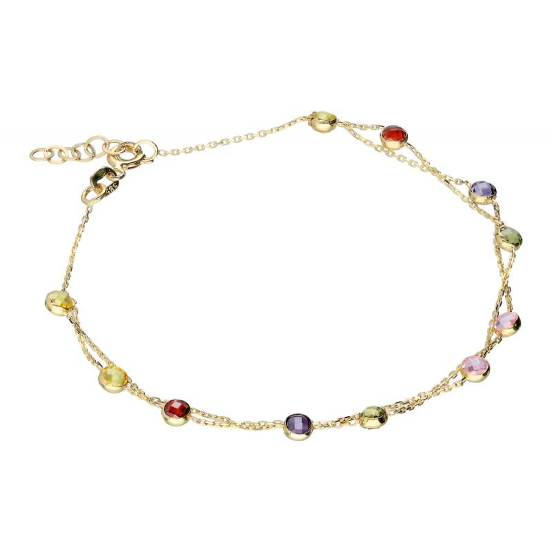 1087f430fc074e Złota bransoletka z kolorowymi cyrkoniami Indeks:B497TA   Biżuteria Eliza