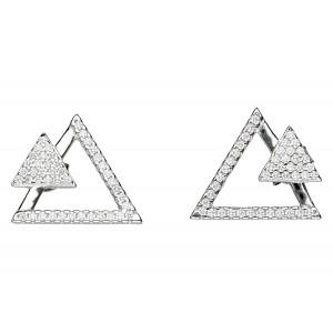 Srebrne kolczyki trójkąty z...