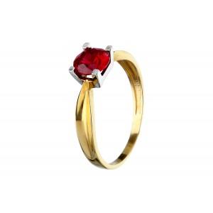Złoty pierścionek z różową...