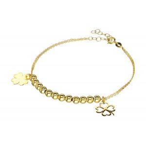 Złota bransoletka - koniczynki