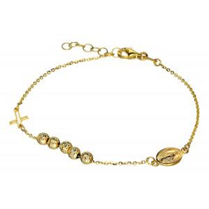 Złota bransoletka różańcowa