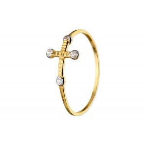 Złoty pierścionek z krzyżykiem