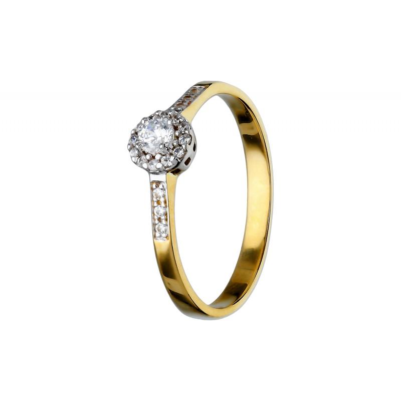 a28a7bf5c4d22e Złoty pierścionek z cyrkoniami z żółtego i częściowo białego złota; model  klasyczny; cyrkonia centralna w otoczeniu mniejszych; drobne cyrkonie na  obrączce, ...