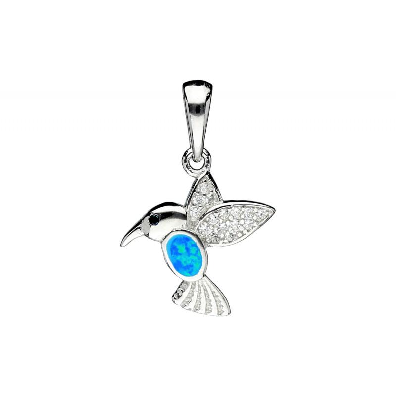 bc6d2d202f5deb ... srebrna zawieszka z cyrkoniami oraz kamieniem jubilerskim imitującym  opal, który pięknie odbija światło w odcieniach turkusu, zieleni i  niebieskiego; ...