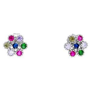 Srebrne kolczyki kwiatki -...