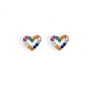 Srebrne kolczyki serca -...