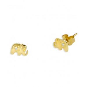 Złote kolczyki - słoniki