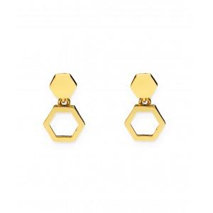 Złote kolczyki - heksagon