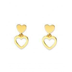 Złote kolczyki - serca