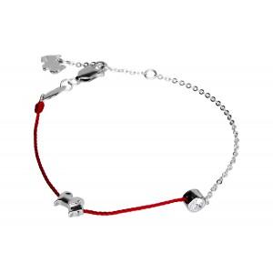 Srebrna bransoletka na sznurku