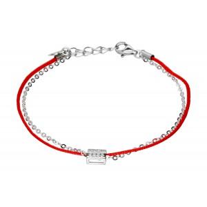 Srebrna bransoletka - sznurek